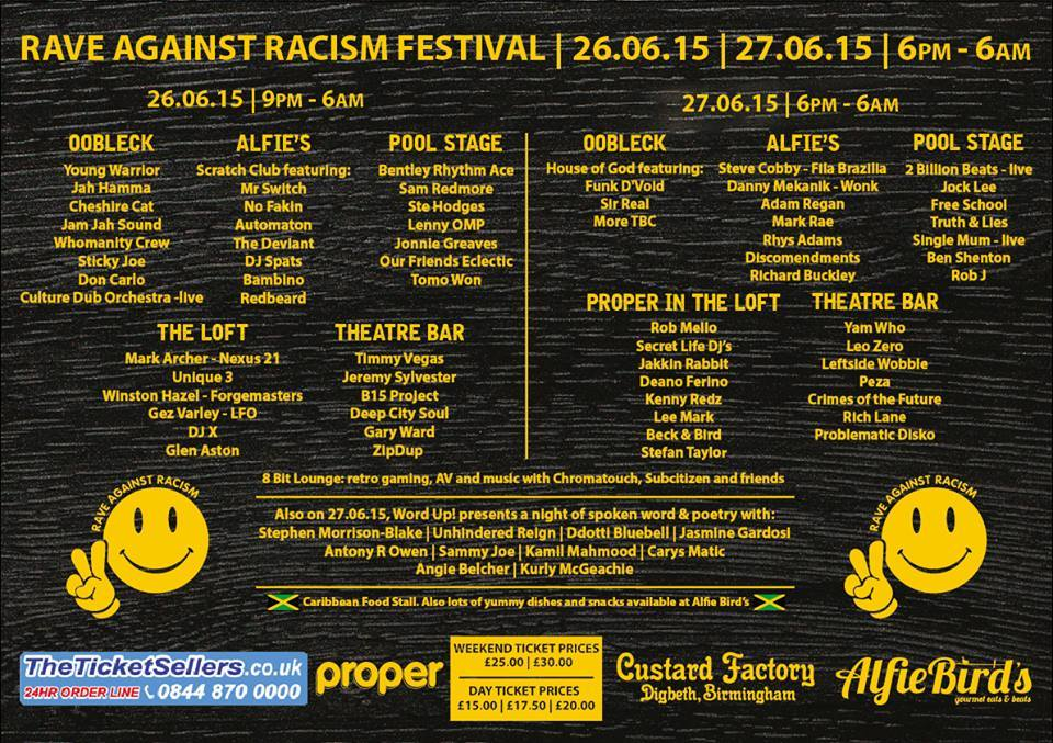rave against racism lineup
